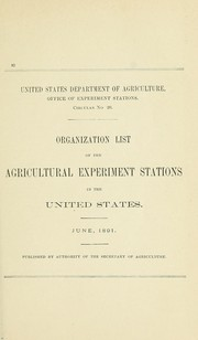 Cover of: Organization list of the Agricultural Experiment Stations in the United States