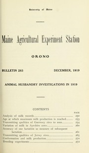 Cover of: Animal husbandry investigations in 1919 | John W. Gowen