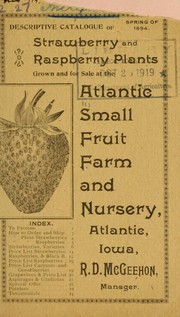 Cover of: Descriptive catalogue of strawberry and raspberry plants | Atlantic Small Fruit Farm and Nursery