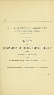 Cover of: List of originators of fruits and vegetables in the United States