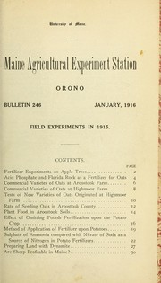Cover of: Field experiments in 1915 | Chas. D. Woods