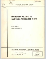 Cover of: Projections relating to California agriculture in 1975 | Gerald W. Dean