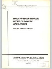 Cover of: Impacts of lemon products imports on domestic lemon markets