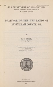 Cover of: Drainage of the wet lands of Effingham County, Ga