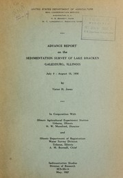 Advance report on the sedimentation survey of Lake Bracken, Galesburg, Illinois, July 9-August 15, 1936 by Victor H. Jones