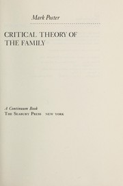 Cover of: Critical theory of the family