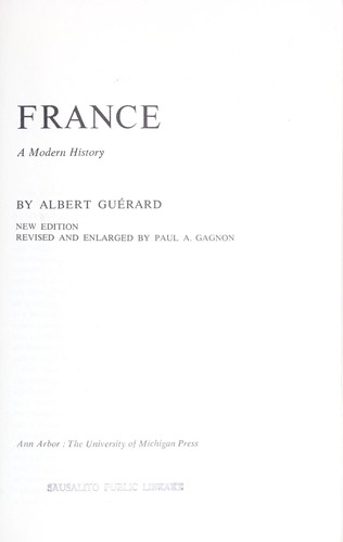 France; a modern history by