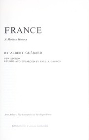Cover of: France; a modern history |