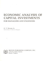 Cover of: Economic analysis of capital investments for managers and engineers