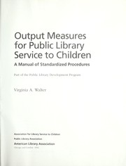 Cover of: Output Measures for Public Library Service to Children