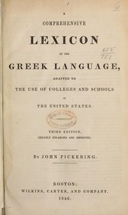 Cover of: A comprehensive lexicon of the Greek language