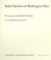 Cover of: Early churches of Washington State | Arnold Pearson