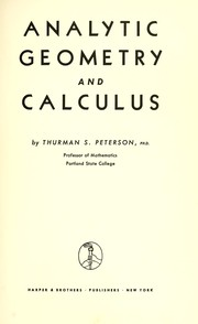 Cover of: Analytic geometry and calculus
