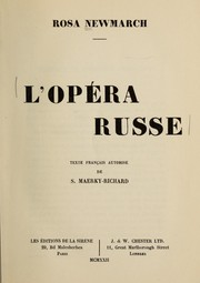 Cover of: L'opera russe