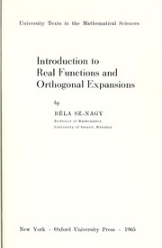 Cover of: Introduction to real functions and orthogonal expansions