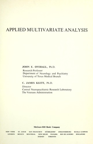 Applied multivariate analysis by John Ernest Overall