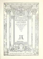 Cover of: Of the just shaping of letters