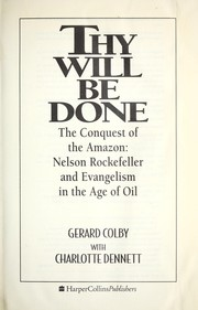 Cover of: Thy will be done | Gerard Colby