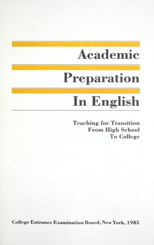 Academic preparation in English by
