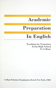 Cover of: Academic preparation in English |