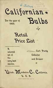 Cover of: Californian bulbs for the year of 1900