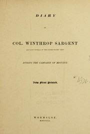 Cover of: Diary of Col. Winthrop Sargent, adjutant general of the United States' army, during the campaign of MDCCXCI