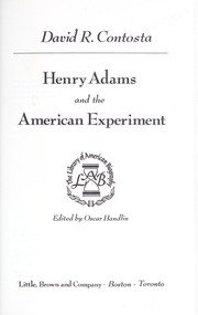 Cover of: Henry Adams and the American experiment