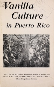 Cover of: Vanilla culture in Puerto Rico