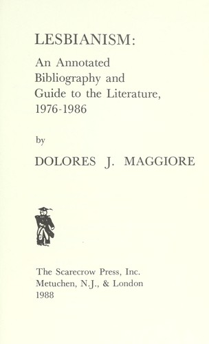 Lesbianism by Dolores J. Maggiore