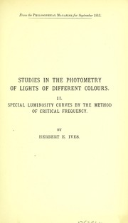 Studies in the photometry of lights of different colours