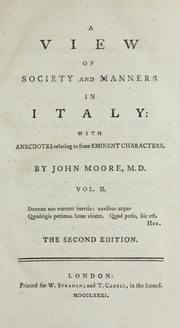 Cover of: A view of society and manners in Italy