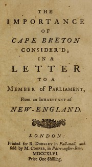 Cover of: The importance of Cape Breton consider