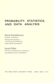 Cover of: Probability, Statistics, and data analysis