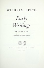 Cover of: Early writings