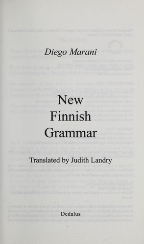 New Finnish Grammar by Diego Marani