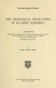 Cover of: The sociological implications of Ricardo