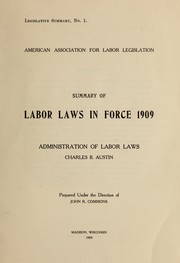 Cover of: Summary of labor laws in force 1909