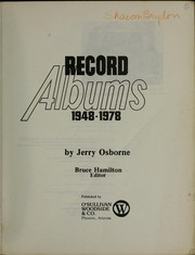 Cover of: Record albums, 1948-1978 | Jerry Osborne