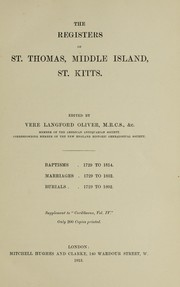 Cover of: The registers of St. Thomas, Middle Island, St. Kitts
