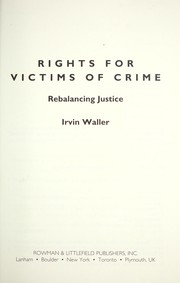 Cover of: Rights for victims of crime