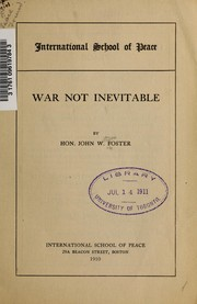 Cover of: War not inevitable