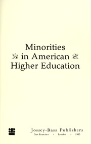 Cover of: Minorities in American higher education | Alexander W. Astin