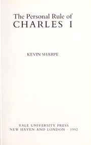Cover of: The personal rule of Charles I | Kevin Sharpe