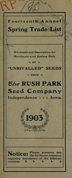 Cover of: Fourteenth annual spring trade list | Rush Park Seed Co