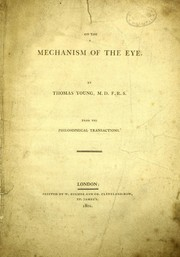 Cover of: On the mechanism of the eye