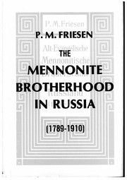 Cover of: The Mennonite Brotherhood in Russia,1789-1910 | Peter M. Friesen