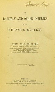 Cover of: On railway and other injuries of the nervous system