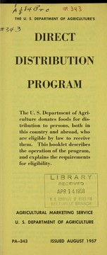 Cover of: The U.S. Department of Agriculture's direct distribution program
