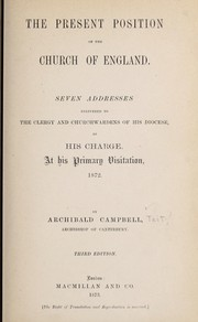Cover of: The present position of the Church of England | Tait, Archibald Campbell