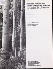 Volume tables and point-sampling factors for Aspen in Colorado by Carleton B. Edminster